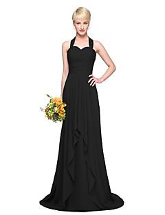 billiga Aftonklänningar-A-linje Halterneck Golvlång Chiffong Brudtärneklänning med Plisserat av LAN TING BRIDE®