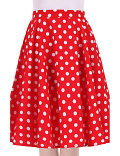 Women's Red White Polka Dot Going out Daily Knee-length Skirts Vintage Swing Dress All Seasons Mid Rise