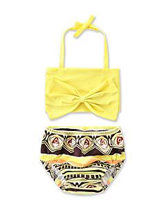 billige Badetøj til piger-Pige Rosette Dyretryk Geometrisk Trykt mønster Badetøj, Bomuld Gul