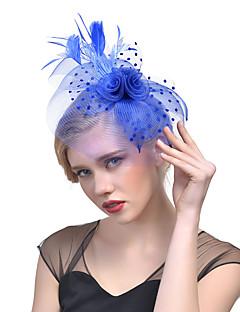 billige Trendy hårsmykker-Dame Hatt لون واحد Mesh Mote Elegant Hårklemme,Alle årstider Akryl Fjær Rosa Beige Navyblå Grå Marineblå