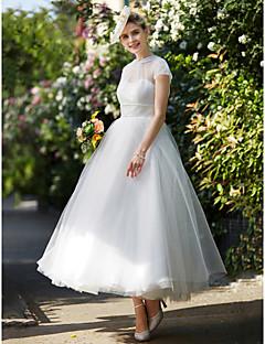 A-Linie Illusion Neckline Po kotníky Krajka Tyl Svatební šaty s Šerpa / Stuha podle LAN TING BRIDE®
