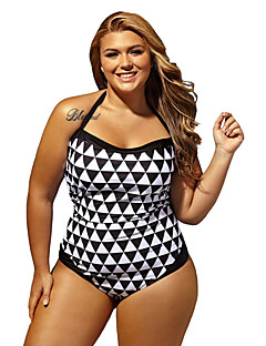 Women's Black White Graphic Print Bandeau 1 PC Plus Size Swimwear