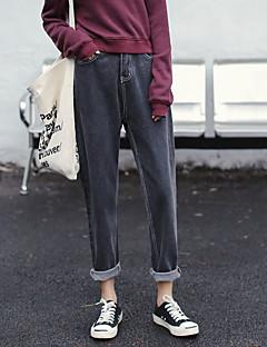 billige Kvinde Underdele-Dame Harem Jeans Bukser Ensfarvet Lavtaljede