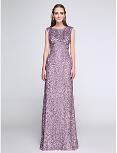 Sheath / Column Scoop Neck Floor Length Sequined Bridesmaid Dress with Sequins by LAN TING BRIDE®