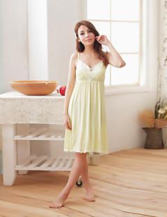 tanie Piżamy-Damskie Piżama,Modalny Koronka Stały Obuwie damskie Blushing Pink Yellow Light Blue