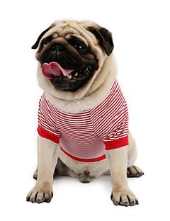 billiga Hundkläder-Katt Hund T-shirt Tröja Väst Hundkläder Rand Röd Blå Cotton Kostym För husdjur Herr Dam Klassisk Gulligt Ledigt/vardag Semester Mode Sport