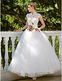kjole kjole illusion halskæde gulvlængde organza brudekjole med perle af tianyu