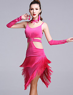 ieftine -Dans Latin Rochii Pentru femei Performanță Viscoză 5 Piese Fără mâneci Natural Rochie Mănuși Neckwear Pantaloni scurți