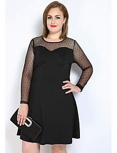 Cute Ann Women's Plus Size Casual/Daily Party Sexy Simple Cute A Line Shift T Shirt Dress,Polka Dot Color Block Round Neck Knee-length Long Sleeve