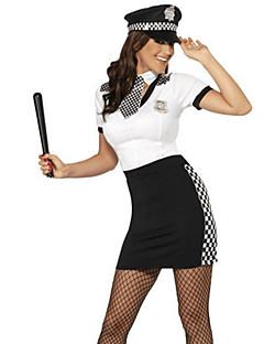 Politi Cosplay Kostumer Kvinnelig Halloween Karneval Festival / høytid Halloween-kostymer Svart og Hvit Helfarge