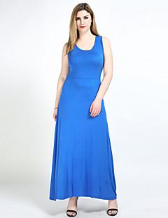 Kadın Günlük/Sade Kumsal Büyük Beden Seksi Sade Sevimli Salaş Kombinezon Tişört Elbise Solid,Kolsuz Askılı MaksiPamuklu Modal Polyester