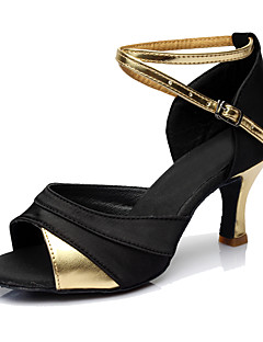 cheap -Women's Latin Shoes Leatherette Heel Customized Heel Customizable Dance Shoes Gold / Silver / Red / Indoor