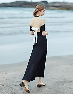 Χαμηλού Κόστους MASKED QUEEN®-Γυναικεία Εξόδου / Παραλία Βαμβάκι Swing Φόρεμα - Μονόχρωμο Μακρύ