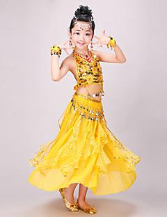 hesapli -Biz göbek dans giysileri çocuk şifon spandex 4 parça dans kostümleri