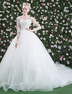 Ball Gown Illusion Neckline Chapel Train Lace Tulle Wedding Dress with Beading Appliques by QZ
