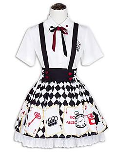 billiga Lolitamode-Prinsessa Punk Lolita Dam Outfits Cosplay Svart Kortärmad Kort / mini Kostymer