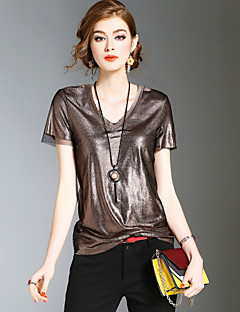 Dames Eenvoudig Vintage Street chic Lente Zomer T-shirt,Casual/Dagelijks Strand Uitgaan Effen V-hals Korte mouw Polyester Medium