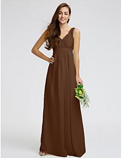 billige Grønn glamour-Tube / kolonne V-hals Gulvlang Chiffon / Livstykke i blonder Brudepikekjole med Blonder / Belte / bånd av LAN TING BRIDE®