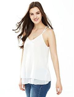 Χαμηλού Κόστους Chic Sexy Shirts-Γυναικεία Πουκάμισο Μονόχρωμο Λαιμόκοψη V Εξώπλατο Ρεϊγιόν Πολυεστέρας