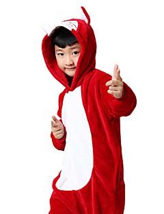 billige Kigurumi-Barne Kigurumi-pysjamas Rev Onesie-pysjamas Kostume Flanell Fleece Rød Cosplay Til Pysjamas med dyremotiv Tegnefilm Halloween Festival / høytid / Jul