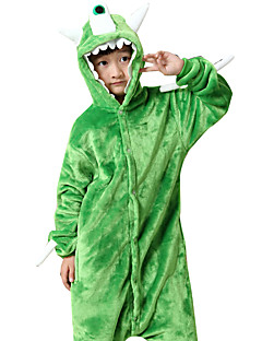 billige Kigurumi-Kigurumi-pysjamas Monster Ettøyet Monster Onesie-pysjamas Kostume Flanell Fleece Grønn Cosplay Til Barn Pysjamas med dyremotiv Tegnefilm