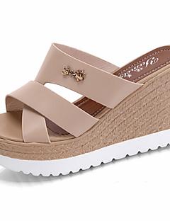 ieftine -Pentru femei Pantofi PU Vară Confortabili Papuci & Flip-flops / Sandale Plimbare Toc Platformă Vârf deschis Decupat pentru Negru / Bej /