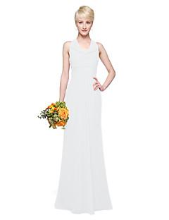 tanie Romantyczny róż-Ołówkowa / Kolumnowa Lejący się dekolt Sięgająca podłoża Szyfon Sukienka dla druhny z Plisy przez LAN TING BRIDE®