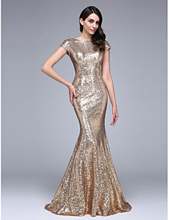 cheap Special Occasion Dresses-Mermaid / Trumpet Bateau Neck Court Train Sequined Formal Evening Dress with Sequins by TS Couture®