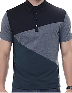 メンズ 日常 カジュアル Polo,ヴィンテージ シンプル 活発的 シャツカラー ソリッド パッチワーク コットン 半袖