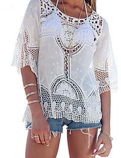 Bomull Rayon Blonder Ekstra Tynn Semi-gjennomsiktig 3/4 ermer,Rund hals T-skjorte Ensfarget Alle sesonger Sommer Sexy Vintage EnkelDaglig