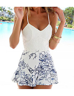 Women's Daily Boho Floral Print Strap Rompers,A Line Sleeveless Summer