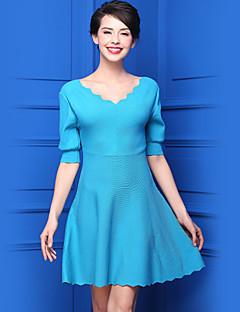 Normal Pullover Fritid/hverdag Enkel Dame,Ensfarget V-hals Halvlange ermer Akryl Vår Medium Elastisk