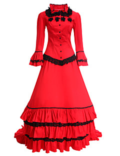 Victorian Medieval 18th Century Costume Women s Dress Party Costume Masquerade  Red Vintage Cosplay Long Sleeve Long Length 4e049190d34a