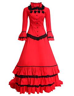 ワンピース ドレス メイド服 クラシック/伝統的なロリータ ヴィクトリアン コスプレ ロリータドレス レッド ビンテージ 長袖 ドレス ために コットン