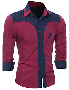 Erkek Orta Polyester Pamuk Kaşımı Polyester/Pamuk Karışımı Polyester / Rayon (T / R) Uzun Kollu Gömlek Yaka Tüm MevsimlerZıt Renkli Özel