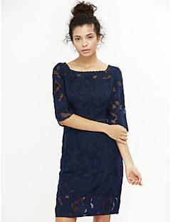 Χαμηλού Κόστους Φορέματα Μεγάλα Μεγέθη-Γυναικεία Μεγάλα Μεγέθη Εφαρμοστό Φόρεμα - Μονόχρωμο, Δαντέλα Τετράγωνη Λαιμόκοψη