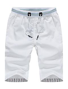billige Herrebukser og -shorts-Herre Store størrelser Bomull Avslappet / Shorts Bukser - Ensfarget Hvit / Sommer
