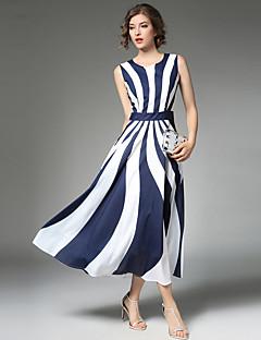 Damen A-Linie Kleid-Party Ausgehen Lässig/Alltäglich Retro Street Schick Anspruchsvoll Druck Patchwork Rundhalsausschnitt Maxi Ärmellos