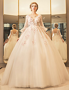 robe de bal plongée décolleté longueur au sol robe de mariée en tulle avec perles par yuanfeishani
