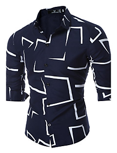 billige Herremote og klær-Tynn Klassisk krage Skjorte - Geometrisk Helg Herre