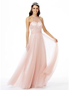 גזרת A עם תכשיטים עד הריצפה טול שמלה לשושבינה  עם סרט קפלים על ידי LAN TING BRIDE®