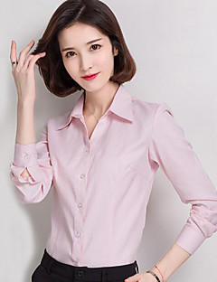 Women's Plus Size Casual All Seasons Shirt,Solid Shirt Collar Long Sleeves Cotton Polyester Thin
