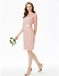 cheap Short Bridesmaid Dresses-Sheath / Column Jewel Neck Knee Length Lace Bridesmaid Dress with Bow(s) Sashes / Ribbons by LAN TING BRIDE®