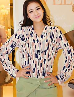 Dames Eenvoudig Schattig Verfijnd Overhemd,Casual/Dagelijks Werk Geometrisch V-hals Lange mouw Polyester
