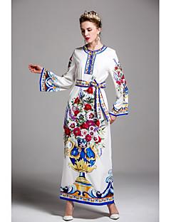 Kadın Dışarı Çıkma Günlük/Sade Parti/Kokteyl Sevimli Kılıf Elbise Desen,Uzun Kollu Yuvarlak Yaka Maksi Polyester Bahar Yaz Normal Bel
