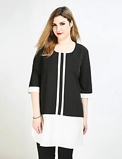 お買い得  レディーストップス-女性用 プラスサイズ Tシャツ カラーブロック パッチワーク