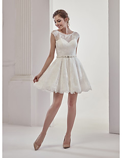 A Line Jewel Neck Short Mini Lace Wedding Dress With Beading By Marrica