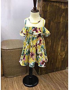 cheap Kids' New Ins-Girl's Print Lattice Dress,Cotton Summer Sleeveless Floral Yellow