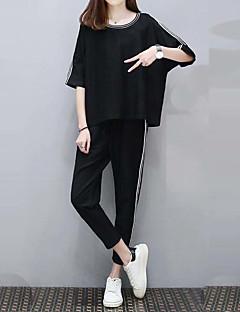 Dames Actief Eenvoudig Zomer T-Shirt Pantalon Kostuums,Casual/Dagelijks Uitgaan Effen Ronde hals