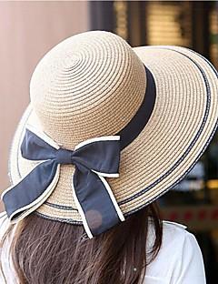 billige Trendy hatter-Dame Fritid Stråhatt,Vår Sommer Ensfarget Polyester Strå Ren Farge Beige Kakifarget